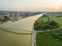 Panoramic aerial view of Osijek and the Drava river, Croatia.