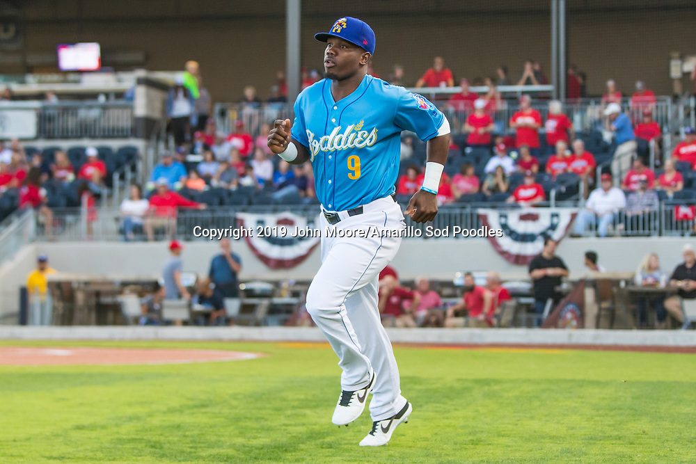 Amarillo Sod Poodles infielder Ruddy Giron (9) against the Tulsa Drillers during the Texas League Championship on Tuesday, Sept. 10, 2019, at HODGETOWN in Amarillo, Texas. [Photo by John Moore/Amarillo Sod Poodles]