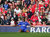 Fotball<br /> Premier League England 2004/2005<br /> Foto: SBI/Digitalsport<br /> NORWAY ONLY<br /> <br /> 25.09.2004<br /> <br /> Middlesbrough v Chelsea<br /> <br /> Chelsea's Didier Drogba is extremely annoyed as he misses another golden opportunity to score for his side.