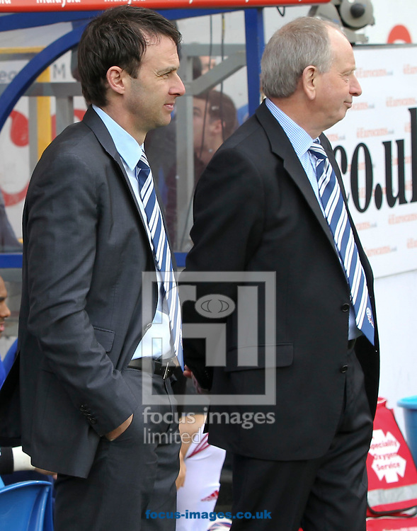 Picture by Mike  Griffiths/Focus Images Ltd +44 7766 223933.27/04/2013.Dougie Freedman (L) and Lennie Lawrence (R) of Bolton Wanderers during the npower Championship match at the Cardiff City Stadium, Cardiff.