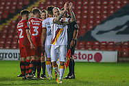 Bradford City midfielder Nicky Law (4) applauds the fans at the end during the EFL Sky Bet League 1 match between Walsall and Bradford City at the Banks's Stadium, Walsall, England on 17 December 2016. Photo by Simon Davies.