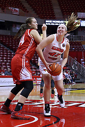 01 January 2017: Vanessa Markert defends Megan Talbot during an NCAA Missouri Valley Conference Women's Basketball game between Illinois State University Redbirds the Braves of Bradley at Redbird Arena in Normal Illinois.