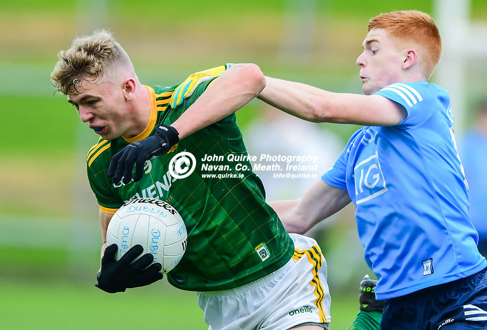 Conor Gray  in action for Meath, with Dublin's Conor Dolan, in the Leinster MFC round 1, match Meath V Dublin at Páirc Tailteann, Navan.<br /> <br /> Photo: GERRY SHANAHAN-WWW.QUIRKE.IE<br /> <br /> 17-10-2020