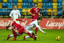 November 14, 2017 - Gdynia, Poland - Patryk Dziczek (POL), Mathias Jensen (DEN) during UEFA U21 Championship Qualifier match between Poland and Denmark on November 14, 2017 in Gdynia, Poland. (Credit Image: © Foto Olimpik/NurPhoto via ZUMA Press)