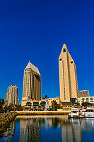 The Embarcadero Marina with Manchester Grand Hyatt San Diego behind, San Diego, California USA.