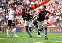 Aston Villa's Anwar El Ghazi celebrates scoring his side's first goal of the game