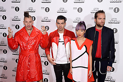 Cole Whittle, Joe Jonas, JinJoo Lee and Jack Lawless of DNCE arriving at the BBC Radio 1 Teen Awards, held at the SSE Wembley Arena, London.<br /> <br /> Picture date: Sunday, 23 October, 2016. Photo credit should: Doug PetersEMPICS Entertainment
