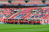 The Welsh Guards band playing on the Wembley pitch before the The FA Cup Final match between Manchester City and Watford at Wembley Stadium, London, England on 18 May 2019.