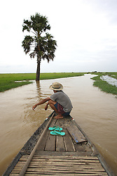 Fishery, Prek Chhdor Village, Cambodia, 632 families<br /> A small boat makes its way back to the village from the edge of the Tonle Sap Lake through the flooded marshland which stretches over hundreds of square kilometres during the rainy season.