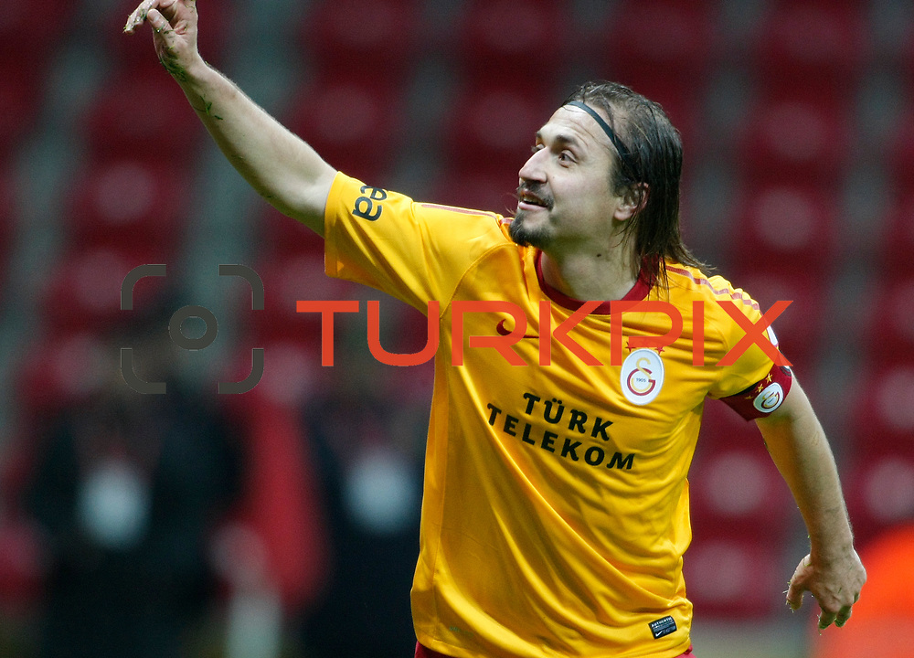 Galatasaray's Ayhan Akman celebrate his goal during their Turkey Cup matchday 3 soccer match Galatasaray between AdanaDemirspor at the Turk Telekom Arena at Aslantepe in Istanbul Turkey on Tuesday 10 January 2012. Photo by TURKPIX