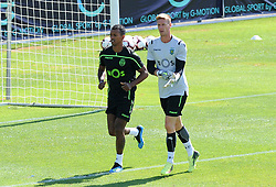 July 12, 2018 - Na - Nyon, 12/07/2018 - Sporting Clube de Portugal trained this morning during their pre-season training session in Switzerland at the Colovray Sports Center in Nyon. Nani, Salin  (Credit Image: © Atlantico Press via ZUMA Wire)