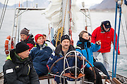 Polish sailors give scientists a ride down the coast from Hyttevika to the Polish Polar Station in Hornsund, Svalbard.