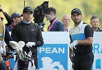 Golf - 2019 BMW PGA Championship - Thursday, First Round<br /> <br /> Francesco Molinari of Italy with Rory McIlroy at the 4th hole, at the West Course, Wentworth Golf Club.<br /> <br /> COLORSPORT/ANDREW COWIE