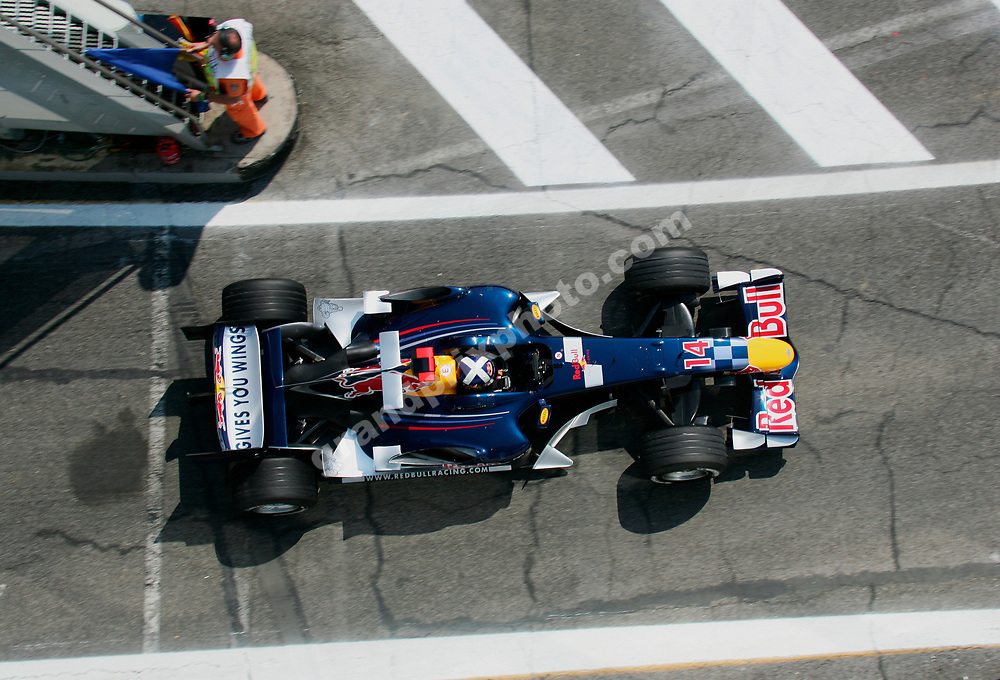 David Coulthard (Red Bull-Cosworth) seen from above during practice for the 2006 San Marino Grand Prix at Imola. Photo: Grand Prix Photo
