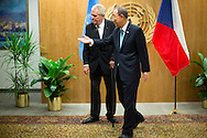 Milos Zeman, the President of the  Czech Republic, with United Nations Secretary General Ban Ki moon.