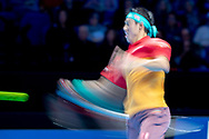 Kei Nishikori of Japan in action during the Nitto ATP World Tour Finals at the O2 Arena, London, United Kingdom on 13 November 2018.Photo by Martin Cole