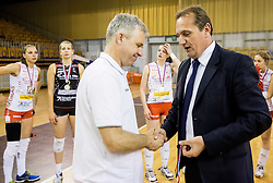 Bruno Najdic, head coach of Nova KBM Branik and Metod Ropret, president of OZS after the final match between Calcit Ljubljana and Nova KBM Branik Maribor in 1st DOL Women League 2015/16, on May 9, 2016, in Arena Tivoli, Ljubljana, Slovenia. OK Calcit Ljubljana became Slovenian Champions 2016. Photo by Vid Ponikvar / Sportida
