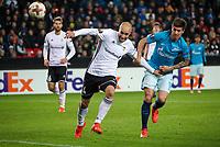 TRONDHEIM, NORWAY - NOVEMBER 02, 2017. UEFA Europa League, round 4: Rosenborg BK (Norway) 1-1 Zenit St Petersburg (Russia). Rosenborg's Tore Reginiussen (L) and Zenit St Petersburg's Emiliano Rigoni (R).
