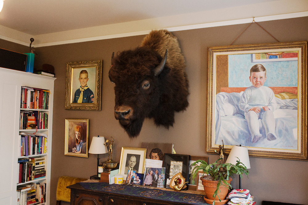 A taxidermy buffalo head in Dan Savage's dinning room. <br /> <br /> Dan Savage at his home in the Capitol Hill neighborhood of Seattle, WA, USA.<br /> <br /> Matt Lutton / Boreal Collective for The Financial Times