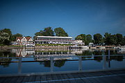 Henley. Berks, United Kingdom. <br /> <br /> General View, GV. Looking across the river to the Phillis Court Club. 2017 Henley' Women's Regatta. Rowing on, Henley Reach. River Thames. <br /> <br /> <br /> Saturday  17/06/2017<br /> <br /> <br /> [Mandatory Credit Peter SPURRIER/Intersport Images]