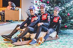 28.12.2018, Schattenbergschanze, Oberstdorf, GER, FIS Weltcup Skisprung, Vierschanzentournee, Oberstdorf, Pressekonferenz, im Bild Stefan Kraft (AUT), Daniel Huber (AUT), Michael Hayboeck (AUT) // during a press conference for the Four Hills Tournament of FIS Ski Jumping World Cup at the Schattenbergschanze in Oberstdorf, Germany on 2018/12/28. EXPA Pictures © 2018, PhotoCredit: EXPA/ JFK