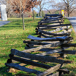 Valley Forge, PA / USA - November 26, 2015:  Split rail fences located in Valley Forge National Historic Park, Pennsylvania, USA.