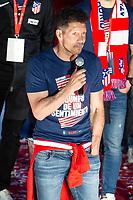 Atletico de Madrid coach Diego Simeone celebrating Europa League Championship at Neptune Fountain in Madrid, Spain. May 18, 2018. (ALTERPHOTOS/Borja B.Hojas)