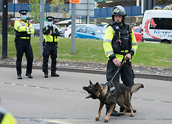 © Licensed to London News Pictures; 01/05/2021; Bristol, UK. Police with dogs block protesters from walking up Newfoundland Road leading to the M32 during a Kill the Bill protest protesting against the Police Crime Sentencing and Courts bill through the city centre on the evening of Mayday. This is the 11th Kill the Bill protest in Bristol since the first one on 21 March which saw violence and damage to the central Bridewell Police station and two police vehicles set on fire. Photo credit: Simon Chapman/LNP.