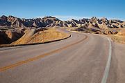 Road through the Badlands National Park in South Dakota
