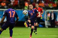 Wesley Sneijder. Salvador BA 13 jun 2014. Jogo 03 Holanda VS Espanha WC 2014. Spain v Holland. World Cup 2014. Fonte Nova stadium, Bahia, Brazil
