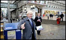 London Mayor Boris Johnson Campaigning outside Charing Cross station on London Mayor Election morning, Thursday May 3, 2012. Photo By Andrew Parsons/I-images