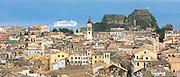 Kerkyra, Corfu Town and Old Fort with Norwegian Jade cruise liner ship in Ionian Sea in Corfu, Ionian Islands, Greece