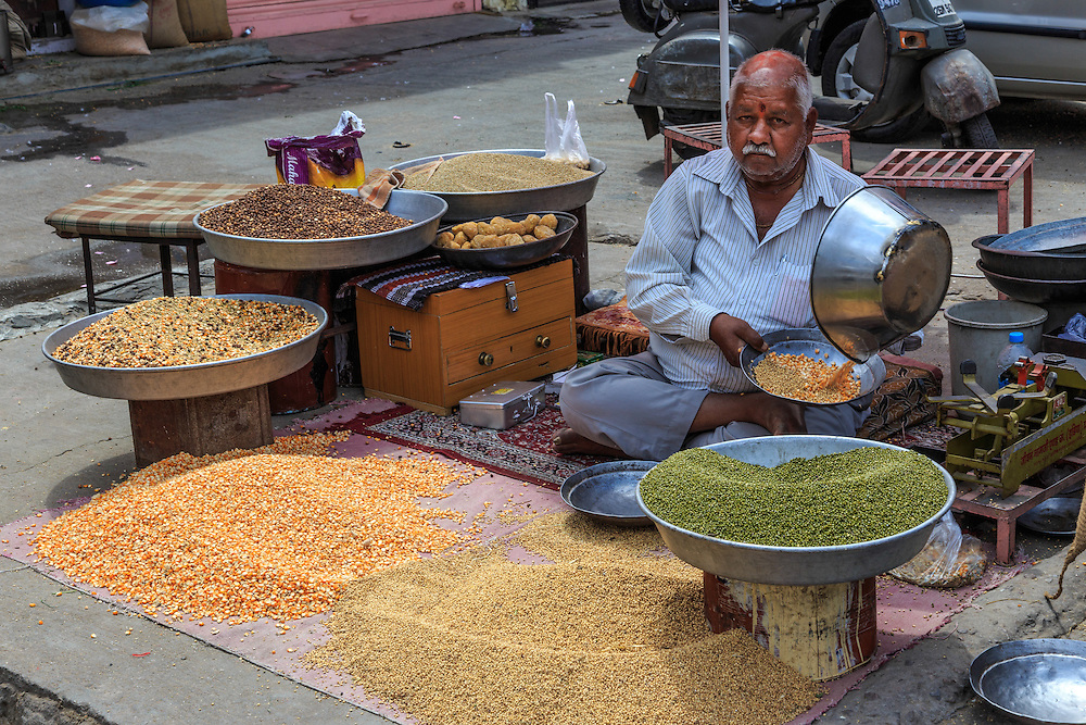 A seed seller in Jaipur, India.