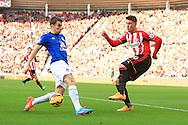 Connor Wickham of Sunderland puts in a cross past Seamus Coleman of Everton - Sunderland vs. Everton - Barclay's Premier League - Stadium of Light - Sunderland - 09/11/2014 Pic Philip Oldham/Sportimage