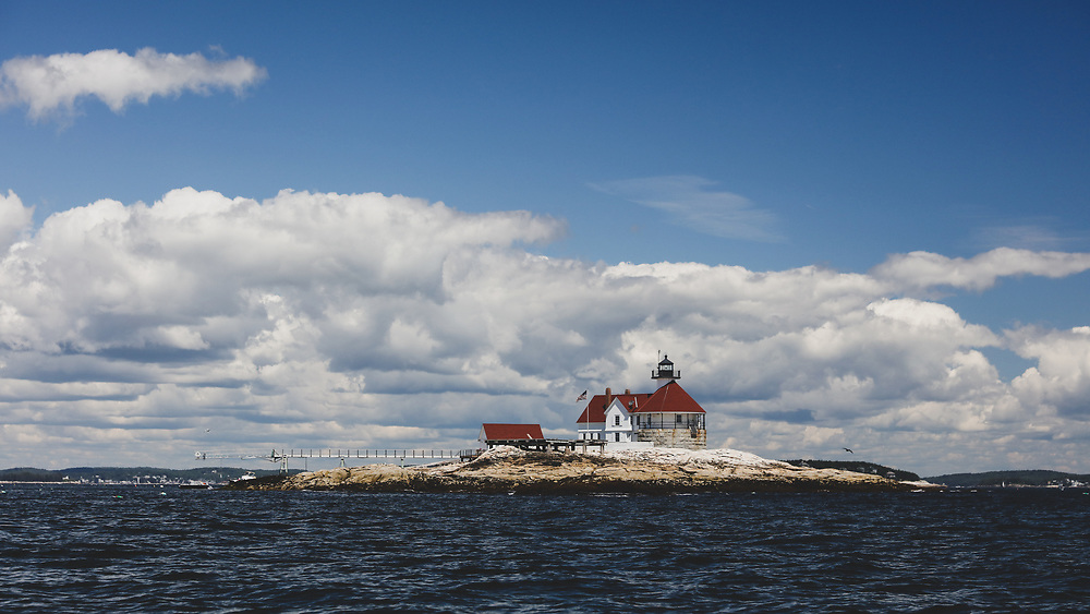 The rocky Cuckolds Light in Boothbay Harbor.