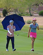 22 MAR15 Ayako Uehara with playing partner Michelle Wie during Sunday's Final Round of the JTBC Founder's Cup at The Wildfire Golf Club in Scottsdale, Arizona. (photo credit : kenneth e. dennis/kendennisphoto.com)