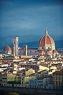 Rooftop view of the Gothic-Renaissance Duomo of Florence,  Basilica of Saint Mary of the Flower; Firenza ( Basilica di Santa Maria del Fiore ) built between 1293 & 1436. Italy .<br /> <br /> Visit our ITALY PHOTO COLLECTION for more   photos of Italy to download or buy as prints https://funkystock.photoshelter.com/gallery-collection/2b-Pictures-Images-of-Italy-Photos-of-Italian-Historic-Landmark-Sites/C0000qxA2zGFjd_k<br /> .<br /> <br /> Visit our MEDIEVAL PHOTO COLLECTIONS for more   photos  to download or buy as prints https://funkystock.photoshelter.com/gallery-collection/Medieval-Middle-Ages-Historic-Places-Arcaeological-Sites-Pictures-Images-of/C0000B5ZA54_WD0s