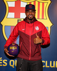 """Kevin-Prince Boateng releases a photo on Twitter with the following caption: """"""""👍 @KPBofficial <br /> 😉 Good morning Barça Fans!<br /> ⚽️ #EnjoyPrince <br /> 🔵🔴"""""""". Photo Credit: Twitter *** No USA Distribution *** For Editorial Use Only *** Not to be Published in Books or Photo Books ***  Please note: Fees charged by the agency are for the agency's services only, and do not, nor are they intended to, convey to the user any ownership of Copyright or License in the material. The agency does not claim any ownership including but not limited to Copyright or License in the attached material. By publishing this material you expressly agree to indemnify and to hold the agency and its directors, shareholders and employees harmless from any loss, claims, damages, demands, expenses (including legal fees), or any causes of action or allegation against the agency arising out of or connected in any way with publication of the material."""