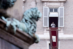 April 26,  2019  - Holy See, Vatican - POPE FRANCIS delivers Regina Coeli prayer from the winwod of the Apostolic building in St. Peter's Square at the Vatican. (Credit Image: © Evandro Inetti/ZUMA Wire)