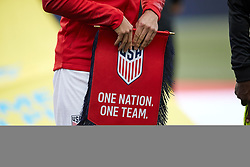 May 28, 2018 - Chester, PA, U.S. - CHESTER, PA - MAY 28: A detailed of a One Nation, One Team banner is seen held by a player during the national anthem prior to the start of the international friendly match between the United States and Bolivia at the Talen Energy Stadium on May 28, 2018 in Chester, Pennsylvania. (Photo by Robin Alam/Icon Sportswire) (Credit Image: © Robin Alam/Icon SMI via ZUMA Press)