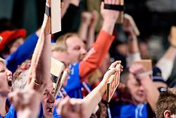 Krimovci, fans of Krim during the 2nd Round of Group 1 at Women Champions League handball match between RK Krim Mercator, Ljubljana and HC Leipzig, Germany on February 13, 2010 in Arena Kodeljevo, Ljubljana, Slovenia. Krim defeated  Leipzig 32-26. (Photo by Vid Ponikvar / Sportida)
