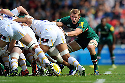 Leicester Tigers flanker Tom Croft eyes the ball at a scrum - Photo mandatory by-line: Patrick Khachfe/JMP - Tel: Mobile: 07966 386802 - 08/09/2013 - SPORT - RUGBY UNION - Welford Road Stadium - Leicester Tigers v Worcester Warriors - Aviva Premiership.