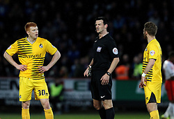Referee Andrew Madley speaks to Rory Gaffney and Matt Taylor of Bristol Rovers - Mandatory by-line: Robbie Stephenson/JMP - 19/04/2016 - FOOTBALL - Lamex Stadium - Stevenage, England - Stevenage v Bristol Rovers - Sky Bet League Two