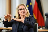 30 JUN 2021, BERLIN/GERMANY:<br /> Svenja Schulze, SPD, Bundesumweltministerin, waehrend einem Interview, in ihrem Büro, Bundesumweltministerium<br /> IMAGE: 20210630-01-015<br /> KEYWORDS: Büro