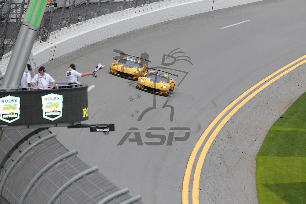 Daytona Beach, FL - Jan 31, 2016:  It was a one two finish for the Chevrolet Corvettes in their class at the Rolex 24 at Daytona at Daytona International Speedway in Daytona Beach, FL.