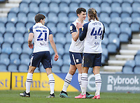 Preston North End's Jordan Storey (Ctr) celebrates at the final whistle with Brad Potts<br /> <br /> Photographer Rich Linley/CameraSport<br /> <br /> The EFL Sky Bet Championship - Preston North End v Huddersfield Town - Saturday 27th February 2021 - Deepdale - Preston<br /> <br /> World Copyright © 2021 CameraSport. All rights reserved. 43 Linden Ave. Countesthorpe. Leicester. England. LE8 5PG - Tel: +44 (0) 116 277 4147 - admin@camerasport.com - www.camerasport.com