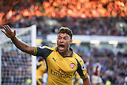 Arsenal midfielder Alex Oxlade-Chamberlain (15) scores a goal and celebrates to make the score 0-1 during the Premier League match between Burnley and Arsenal at Turf Moor, Burnley, England on 2 October 2016. Photo by Simon Davies.