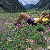 Rob Hart relaxes in a meadow at the mouth of the Grand Canyon of the Clarks Fork of the Yellowstone River.