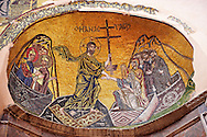 Byzantine mosaics of Christ i Nea Moni built by Constantine IX and Empress Zoe after the miraculous appearance of an Icon of the Virgin Mary at the site and inaugurated in 1049. Scene of a terrible sack and massacre of hundreds of Chiots and priests during the Ottoman sack of Chios in reprisal for the 1821 Greek War of Indipendance. Nea Moni monastery, Chios Island, Greece. A UNESCO World Heritage Site. .<br /> <br /> If you prefer to buy from our ALAMY PHOTO LIBRARY  Collection visit : https://www.alamy.com/portfolio/paul-williams-funkystock/chios.html<br /> <br /> Visit our BYZANTINE ART PHOTO COLLECTION for more   photos  to download or buy as prints https://funkystock.photoshelter.com/gallery-collection/Roman-Byzantine-Art-Artefacts-Antiquities-Historic-Sites-Pictures-Images-of/C0000lW_87AclrOk
