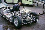 Lotus-Climax racing car John Coundley Racing Partnership Aintree race circuit April 1963 mechanic
